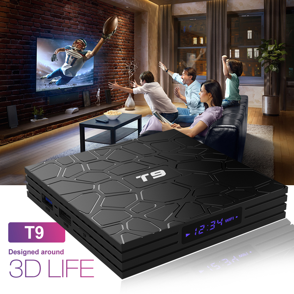 Image 4 - Android 9.0 TV BOX T9 Smart TV Box 4K Quad Core Media Player 4GB RAM 32GB/64GB ROM H.265 2.4G/5G WIFI USB 3.0 TVbox Set Top Box-in Set-top Boxes from Consumer Electronics