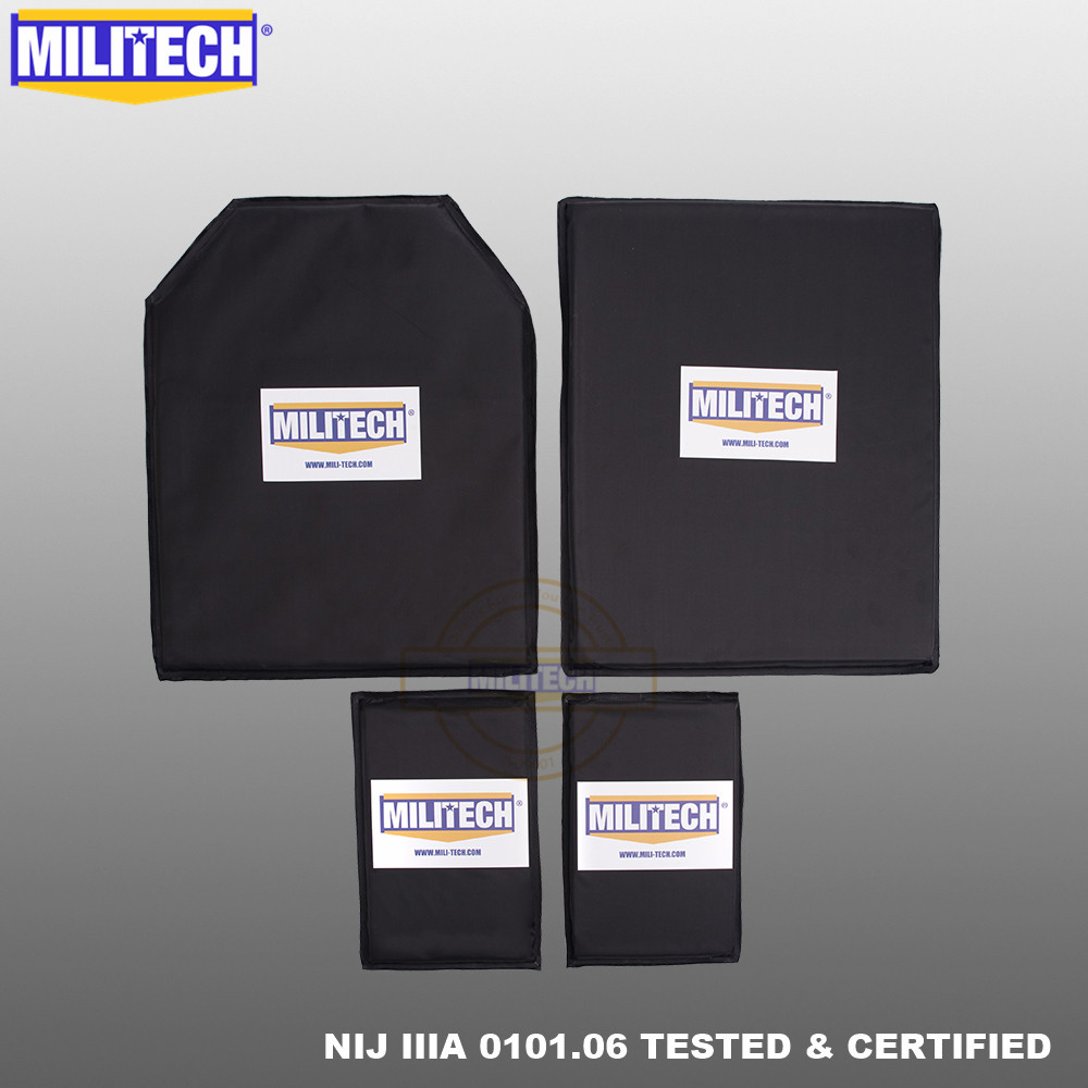 MILITECH Aramid Ballistic NIJ Level IIIA 3A 11x14 STC&SC And 5x8 Two Pairs Soft Panel Bullet Proof Plate Inserts Body Armor