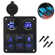 Durable LED Switch Panel 3 Gang Rocker Switch Dual USB Toggle Switch Panel Kit Universal For Car Truck Boat цена в Москве и Питере