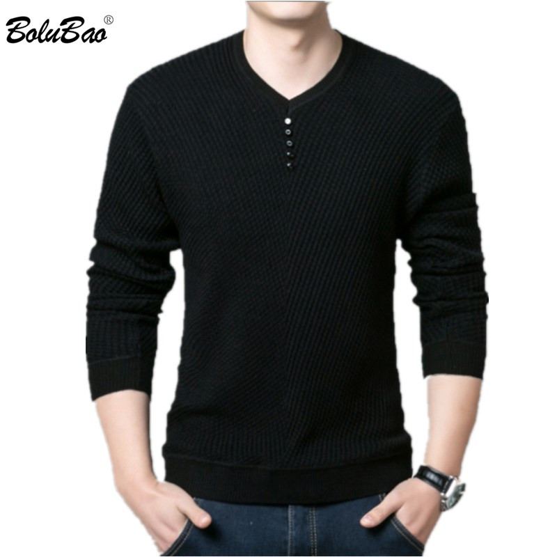 BOLUBAO Casual Brand Men's Sweaters V-Neck Long Sleeve Sweater Tops Male Fashion Wild Slim Fit Pullovers Sweater Men