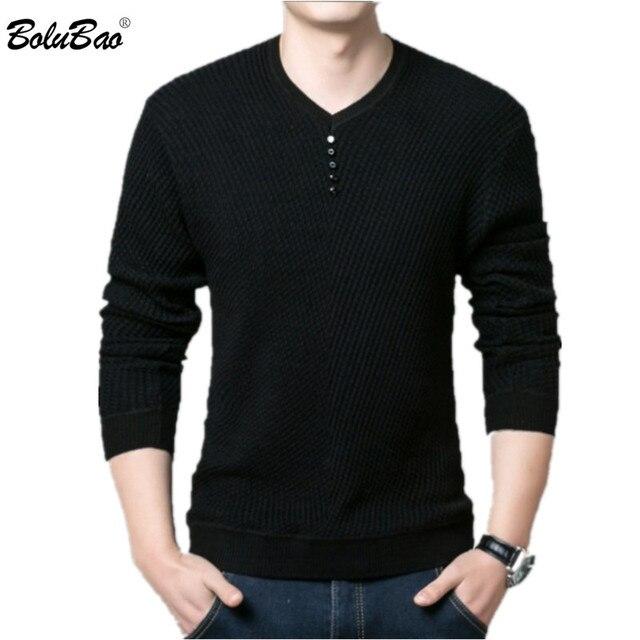 BOLUBAO מקרית מותג גברים של סוודרים V צוואר ארוך שרוול סוודר חולצות זכר אופנה פראי Slim Fit סוודרי סוודר גברים