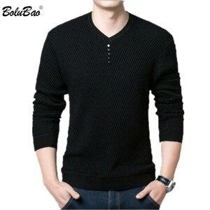 Image 1 - BOLUBAO rahat marka erkek kazak v yaka uzun kollu kazak üstleri erkek moda vahşi Slim Fit kazaklar kazak erkekler