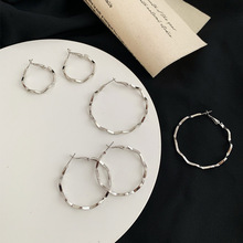 Exaggerated European and American Big Hoop earring wave round personality simple earrings Korean New wild female