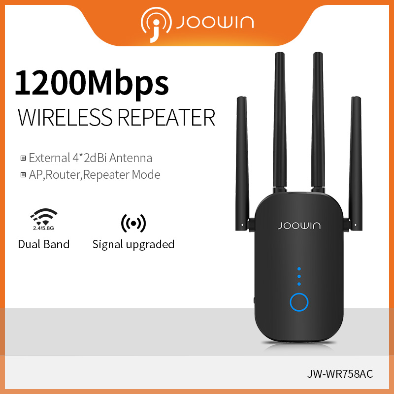 Joowin High Speed 1200Mbps Wifi Repeater Dual Band 2.4G&5.8G Wireless Extender Use 4*3 DBi Antennas Long Signal JW-WR758AC