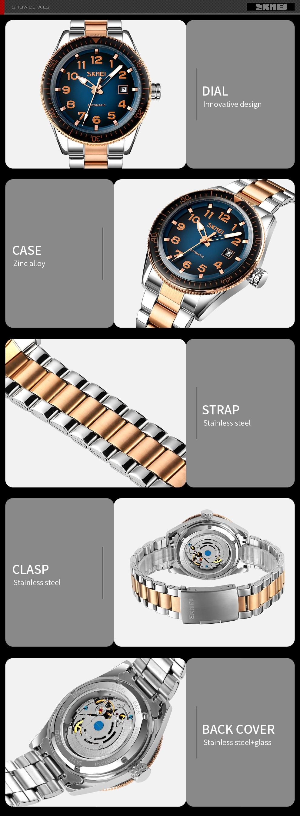bussiness masculino relógio de pulso mecânico aço