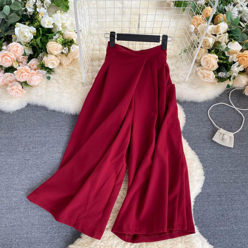 Design Wide Leg Pants Summer for Women 2020 New Fashion All-match Cropped/Capri Casual Pants Office Lady high waist pants