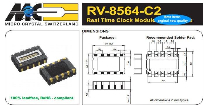2pcs 100% New And Orginal RV-8564-C2 32.768K 32.768KHZ RTC MICRO Micro Crystal Clock IC Active Crystal