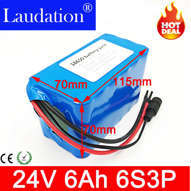 24v battery 6Ah 6S3P 18650 Battery lithium battery <font><b>24</b></font> v Electric Bicycle moped /electric/lithium ion battery pack bms laudation image