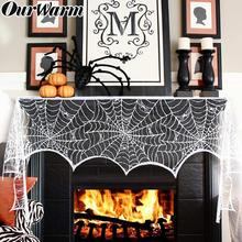 OurWarm Black Lace Fireplace Scarf Halloween Party Decoration 18*98 inch Spider Web Cobweb Home Decor