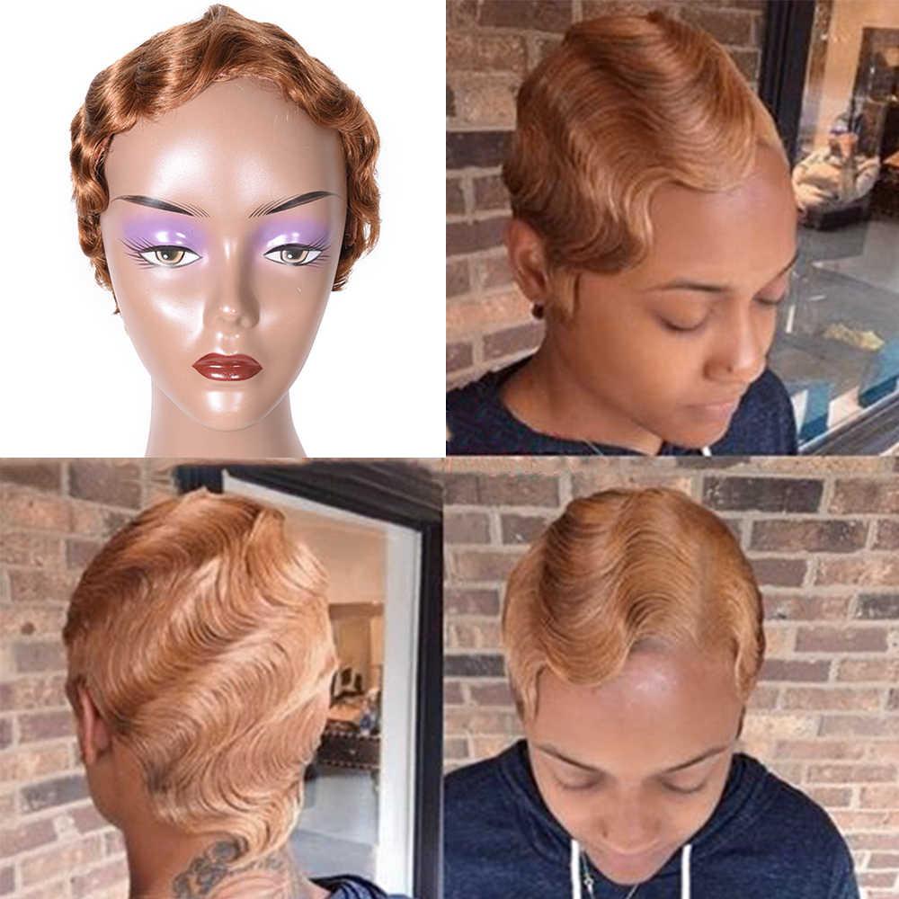 Perucas de cabelo humano curto para preto feminino onda de dedo peruca brasileira onda do oceano não remy perucas de cabelo humano cor natural/#4/#27/#30/99j