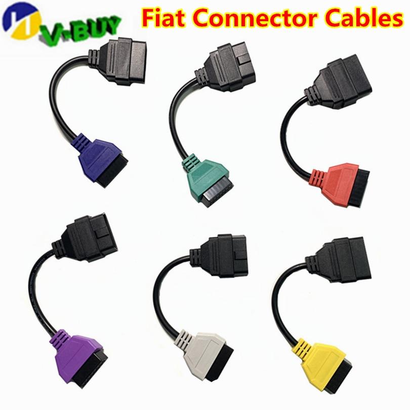6Pcs/Set For Fiat Ecu Scan Adaptor Connector 16pin OBD2 16pin Cable OBD Cable For Fiat Alfa Romeo Three Color (6 Pieces/ Set)