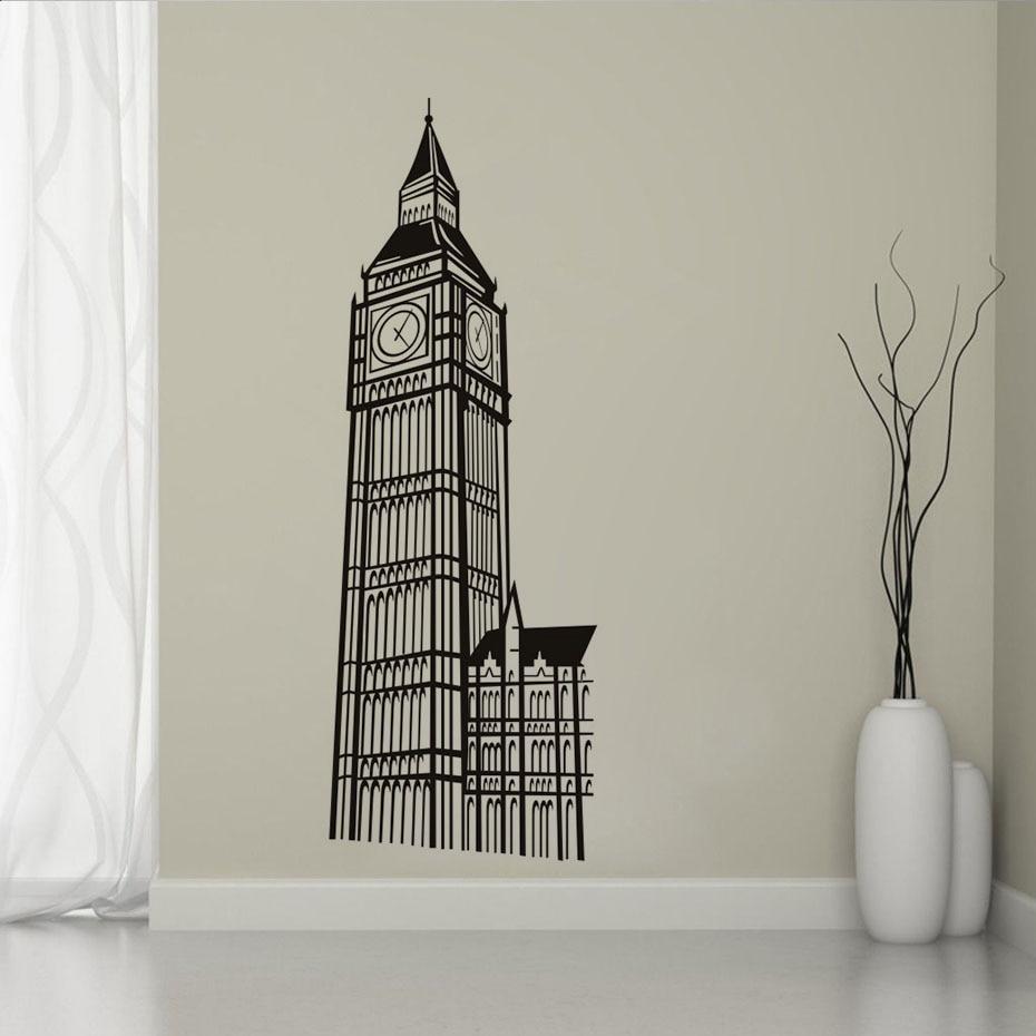 London Landmark Building Big Ben Clock Stickers Decal on the wall For Kids Room Living Room Home Decor Wall Art Vinyls Wallpaper (2)