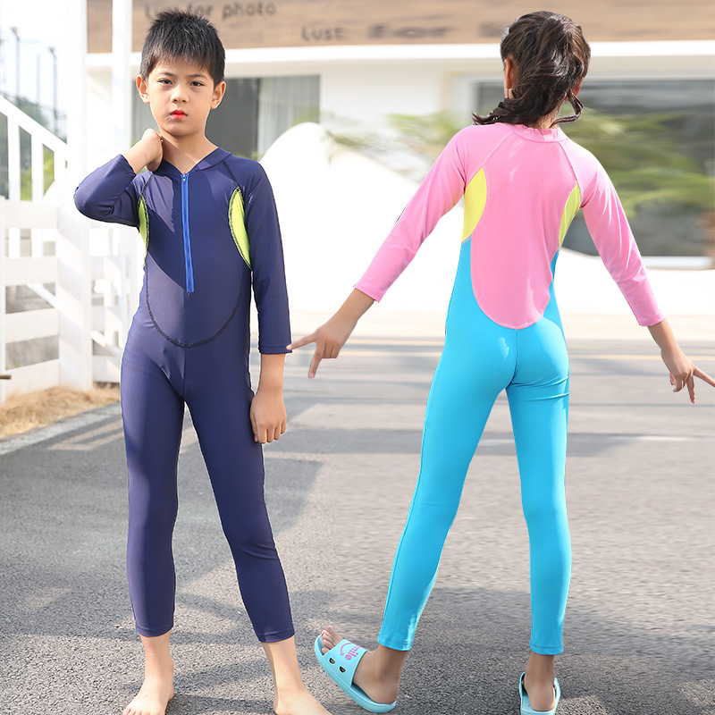 Children Diving Suit Sun Protection Clothing Long Sleeve One-piece Girls BOY'S Universal Swimsuit Jellyfish Clothing Snorkeling