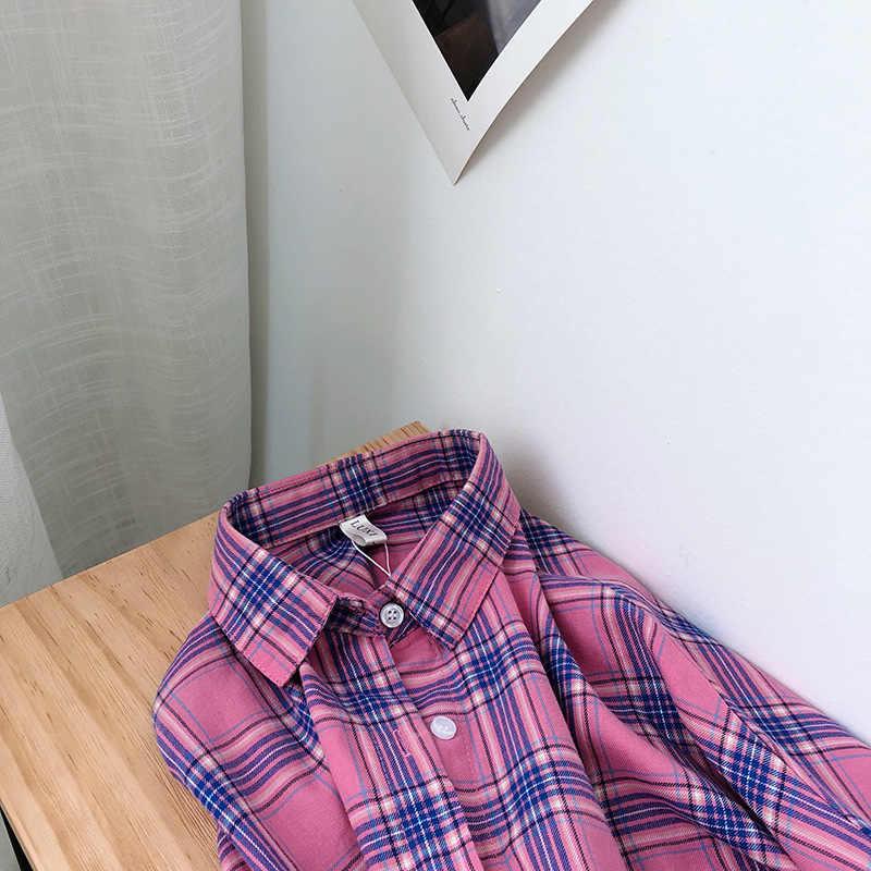 Neimai/хлопковая клетчатая рубашка, кардиган, Feminino Blusas Mujer De Moda 2019, корейские винтажные Элегантные повседневные женские топы и блузки