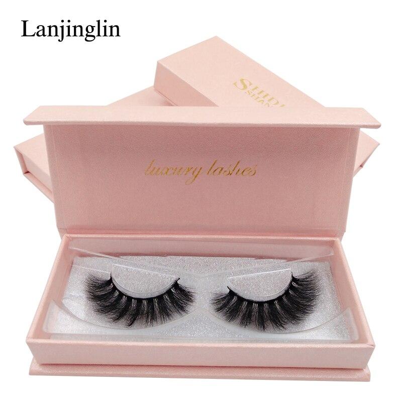 LANJINGLIN 1 par cílios vison handmade 3d cílios vison naturais cílios postiços maquiagem volume de longo de seda falso eye lashes lash