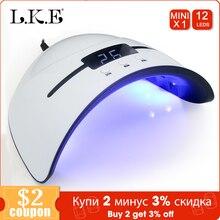 LKE secador de uñas portátil, lámpara UV de 36W para todo tipo de esmaltes en Gel, 12 LED, para máquina de curado de uñas, temporizador de 30, 60 y 90 segundos, USB