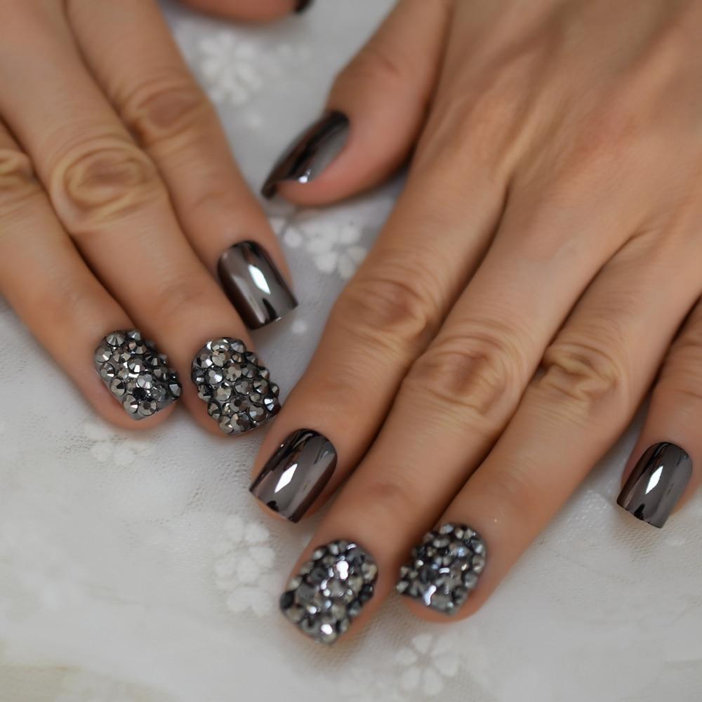 Strass Fake Nails Square Metallic Nail Art Tips Gun Dark Grey Mirror Nail Crystal Decorated Manicure Fingernails With Glue Tabs