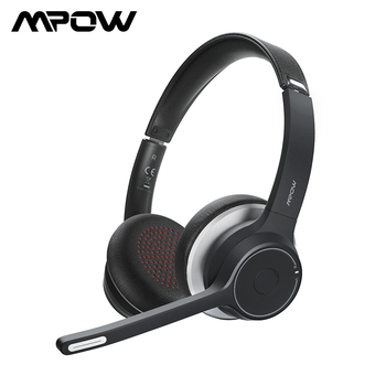 Ulepszony zestaw słuchawkowy Mpow HC5 słuchawki bezprzewodowe Bluetooth 5.0 z redukcją szumów CVC8.0 Microphpne wyciszenie dla telefonu komputer stancjonarny