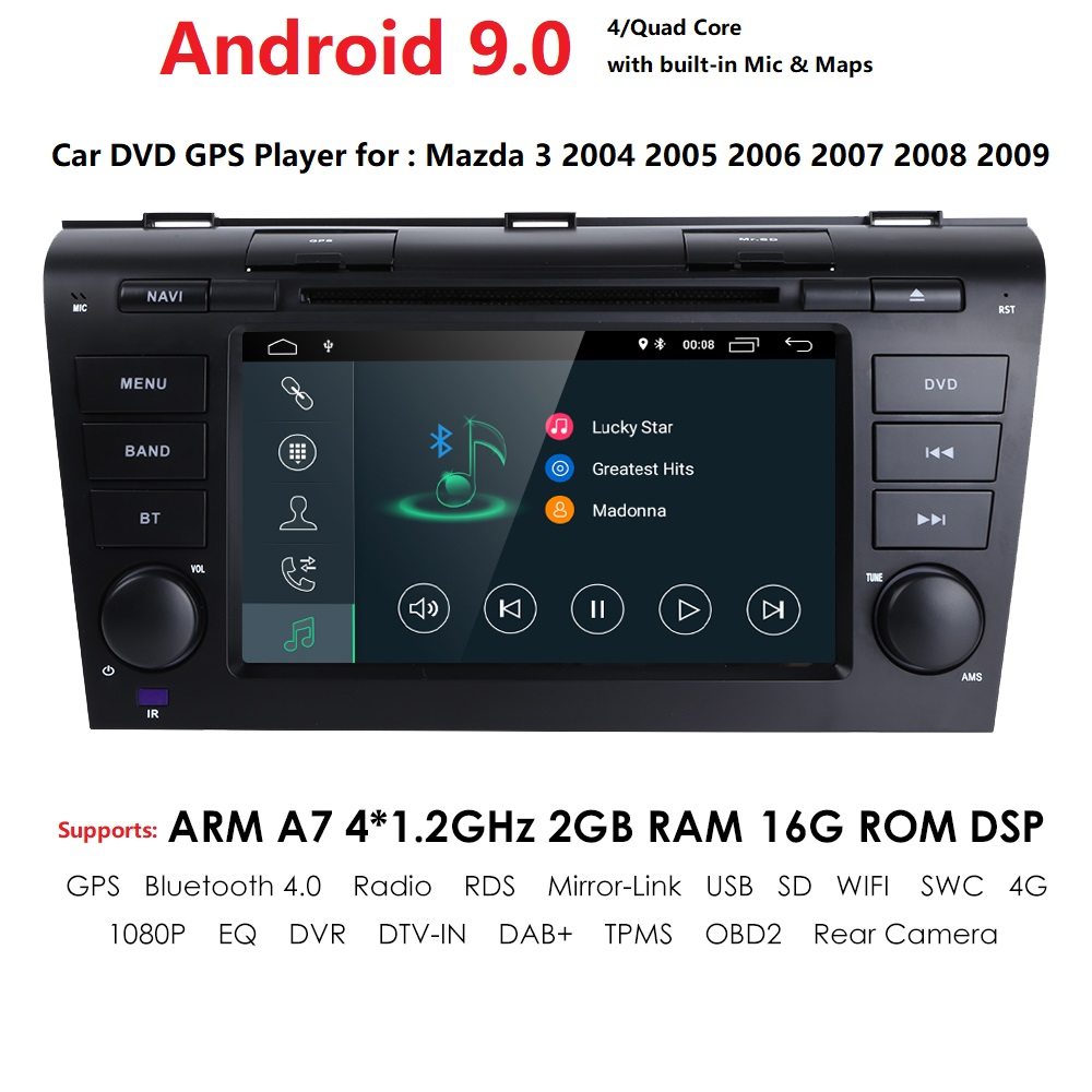 HD 1024*600 Android 9.0 Car GPS Multimedia Player For 2004 2005 2006 <font><b>2007</b></font> 2008 2009 <font><b>Mazda</b></font> <font><b>3</b></font> <font><b>2Din</b></font> GPS Wifi 4G FM SWC Cam Navi RDS image