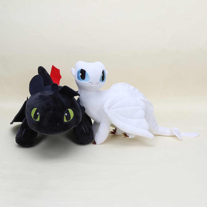 33/3 35 centímetros Como treinar O Seu Dragão Dragão brinquedos De Pelúcia Desdentado fúria Noite desdentado Pesadelo luz suave stuffed boneca caçoa o presente