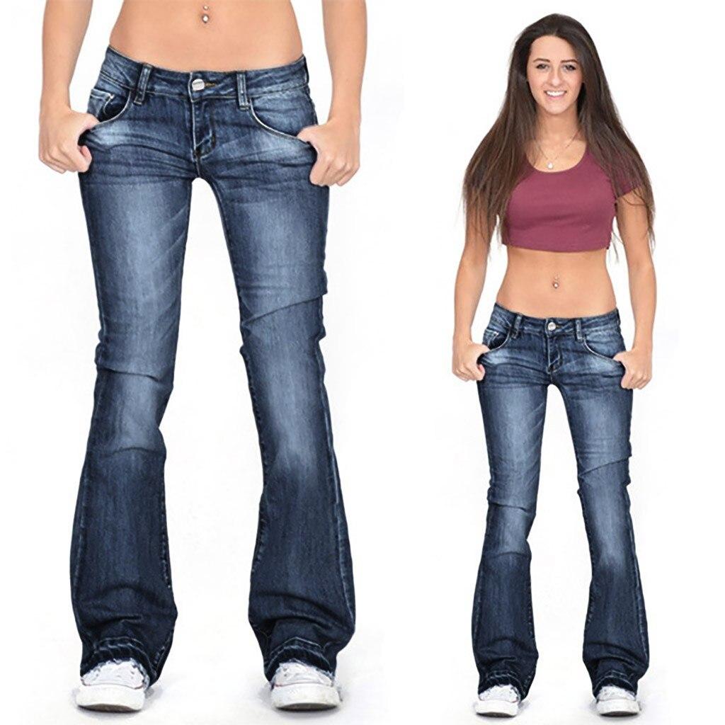 Women's Flared Jeans Skinny Jeans Vintage Long Denim Pants Autumn High Waist Elastic Wide Leg Pant Femme Blue Trouser