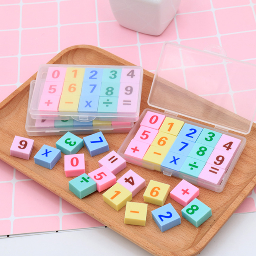 15pcs/set Digital Addition And Subtraction Boxed Eraser Kawaii Stationery For School Kids Gifts Supplies