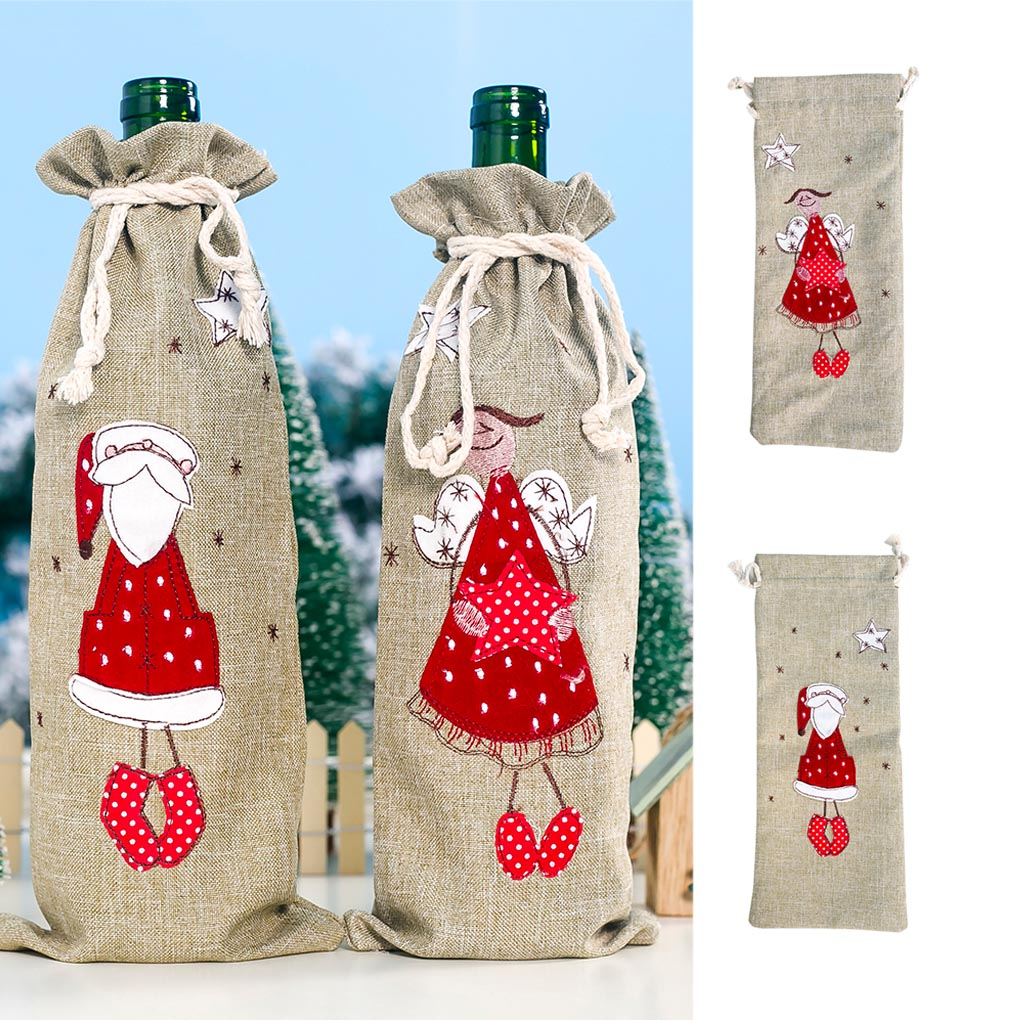 Santa Claus Angle Wine Bottle Bag Drawstring Christmas Champagne Cover Linen Cloth Xmas Decoration Gift Wrap Pouch