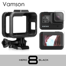 Vamson Cho GoPro Hero 8 Gọng Đen Ốp Lưng Biên Giới Bảo Vệ Kính Cường Lực Màn Hình Bảo Vệ Cho Phụ Kiện GoPro VP652