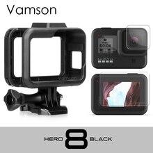 Vamson สำหรับ GoPro HERO 8 สีดำกรอบขอบป้องกันกระจกนิรภัยหน้าจอป้องกันสำหรับ GoPro อุปกรณ์เสริม VP652