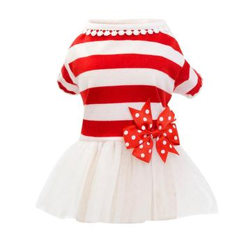 Sukienka dla małych psów sukienka dla zwierząt domowych Bowknot sukienka dla psów śliczne wiosenne letnie ubrania dla małych psów s ubrania dla kota ubrania dla psów na duże psy tanie i dobre opinie CN (pochodzenie) Poliester Wiosna jesień W paski
