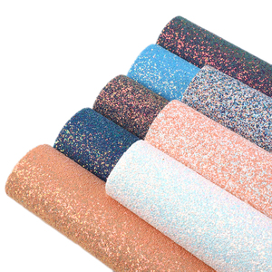 David accessories 20*34cm Chunky Glitter Faux Synthetic Leather Sheets Leatherette Fabric DIY Handmade Materials,1Yc7626(China)
