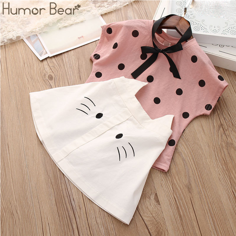 Humor Bear Girls Clothing Set 2020 Korean Summer New Ice Cream Bow Top T-shirt+Pants Kids Suit Toddler Baby Children's Clothes 9