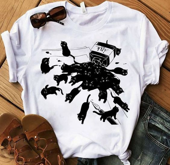 cute Black Cat and Ink t shirt unisex funny women graphic grunge Fashion 100% Cotton aesthetic tee top tshirt fit Drop Shipping|T-Shirts| - AliExpress