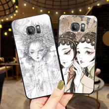 Cases For Samsung A70 50 40 30 20 10 60 6 Plus Chinese style girl face A7 A8 A9Soft Phone Back Cover Gift(China)