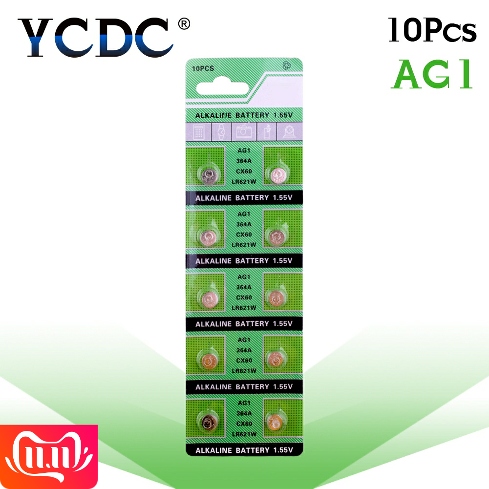 10pcs/pack AG1 LR621 SR621 164 Button Batteries LR621W CX60 364A Cell Coin Alkaline Battery 1.55V TR621SW For Watch Toys Remote