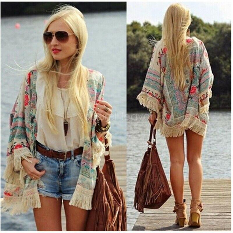 Fashion Casual Women Boho Fringe Floral Kimono Cardigan Tassels Beach Cover Up Cape Jacket Hots