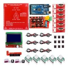 Reprap Ramps 1.4 عدة مع ميجا 2560 r3 + Heatbed MK2B + 12864 وحدة تحكم بشاشة إل سي دي + 5 قطعة A4988 + 6 قطعة التبديل الميكانيكية للطابعة ثلاثية الأبعاد