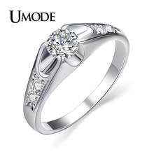 UMODE 2019 New Fashion White Gold Color CZ Crystal Rings for Women Rose Gold Color Zircon Engagement Ring Bague Femme AJR0064B(China)