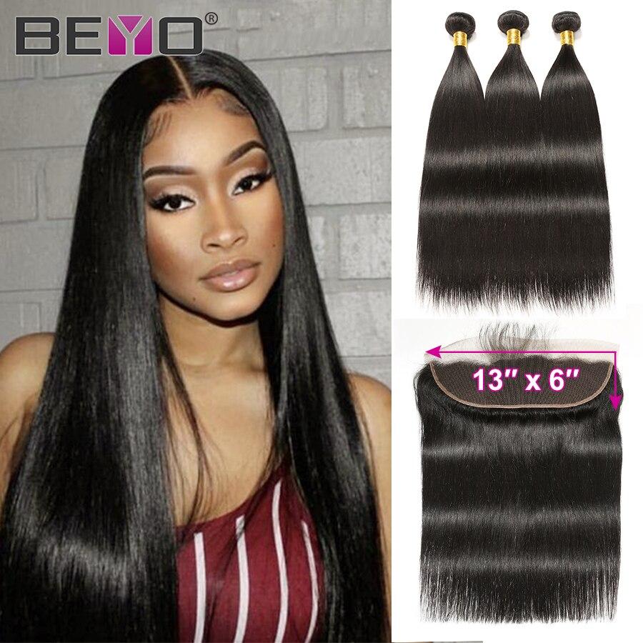 13x6 Frontal With Bundles Brazilian Straight Hair Bundles With Frontal 100% Human Hair Bundles With Closure Beyo Non-Remy Hair