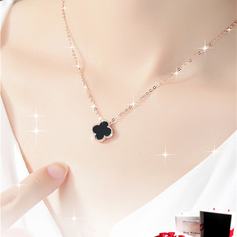 999 collier en argent sterling trèfle dame clavicule chaîne de mode couleur or rose présent pour l'anniversaire de la petite amie