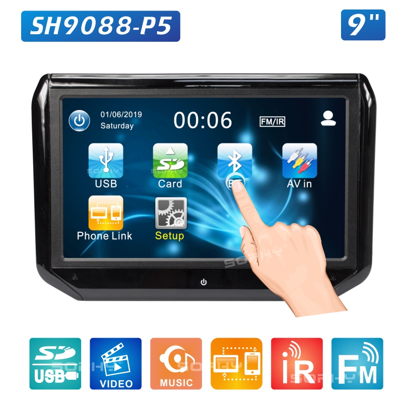 9 inch LED Touch Screen Auto Car Headrest Monitor Seat Back MP5 Video Player USB/SD/IR/FM/Bluetooth Built-in Speakers SH9088C-P5 porta celular para hacer ejercicio