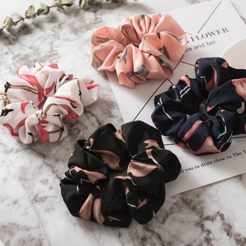 Floral Flamingo Solid Houndstooth Design Women Hair Accesories Hair Tie Scrunchie Ponytail Hair Holder Rope
