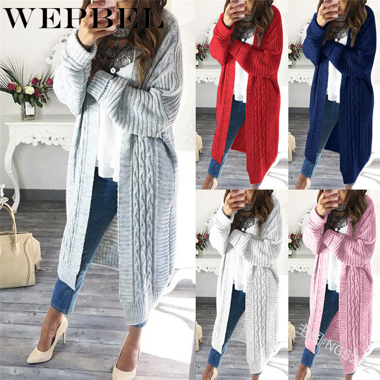 WEPBEL Women Cardigan Sweater Loose Open Casual Fashion Knitted Extra Long Full Sleeve Autumn Winter Ladies Sweaters Cardigans