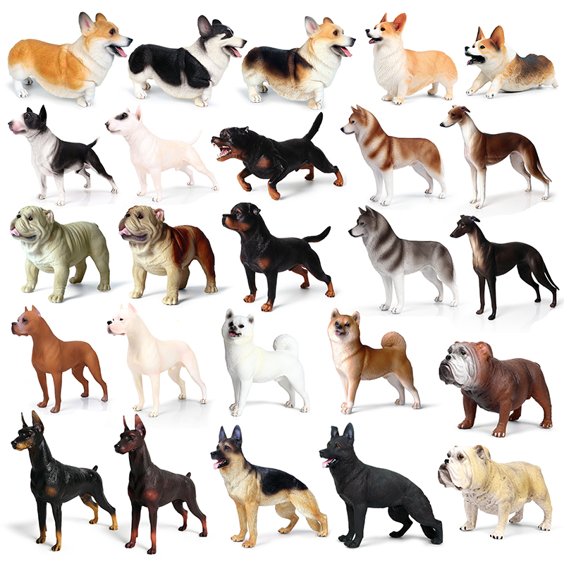 25Styles Big Size Family Animal Cute Pet Dogo Argentino Dobermann Rottweiler Dog Bulldog Model Collectible For Kid Children Gift