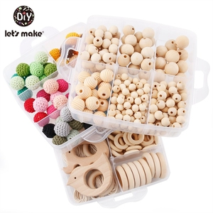 Image 1 - Silikon Perlen Set Holz Beißring Ring Kit Baby Beißring Tier DIY Pflege Häkeln Perle Runde Geometrische Holz Perlen Holz Ring
