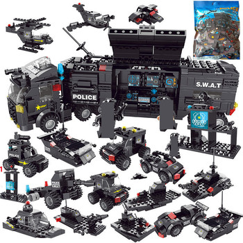 700Pcs Special Police Command Vehicle Building Blocks Sets SWAT Team Truck Car Model Bricks Kit Educational Toys For Children 788pcs city fire command center engine ladder truck building blocks sets creator bricks playmobil educational toys for children