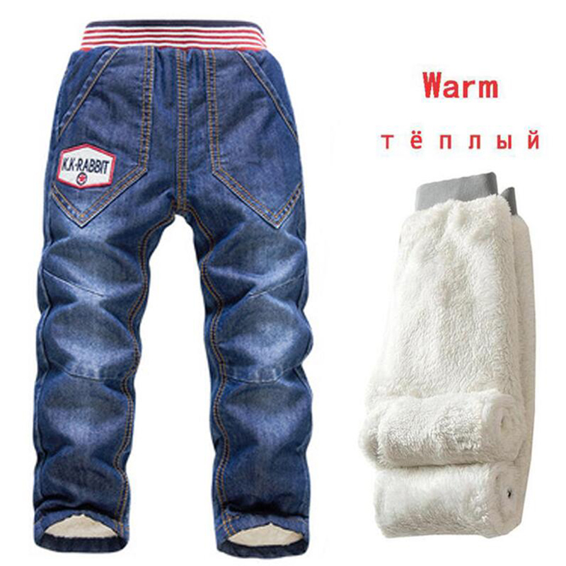 Children Jeans Trousers Pants Autumn Baby-Boys Kids Winter Casual Warm Thicking 2-7Y
