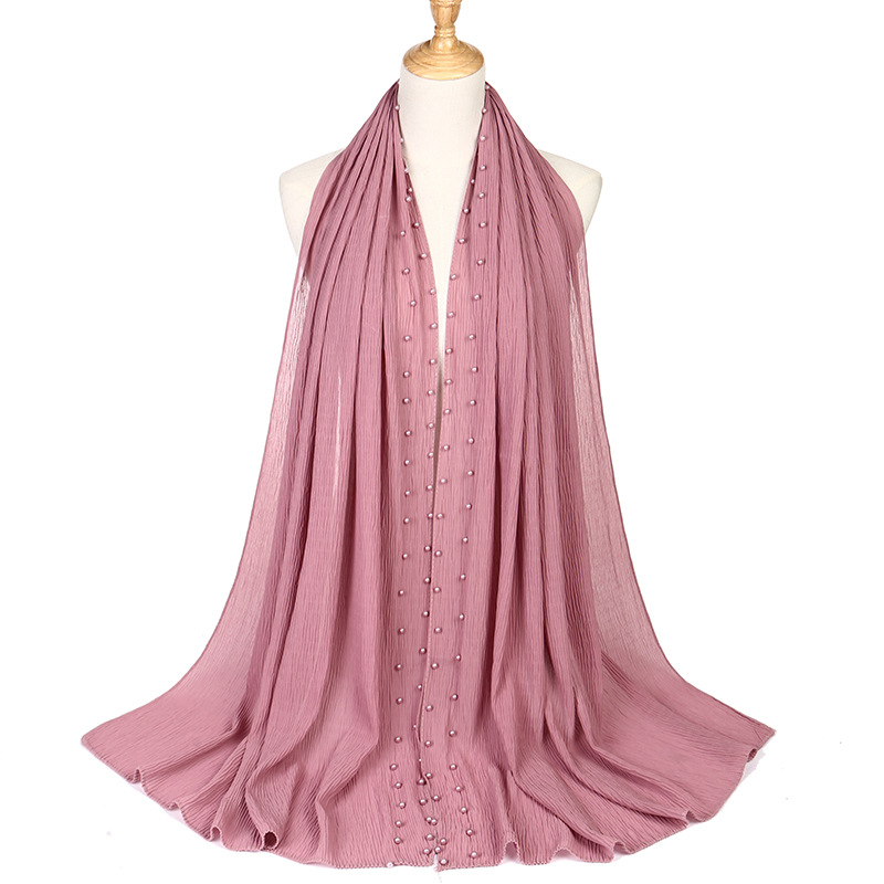 Image 5 - 2020 新夏ムスリム無地無地プリーツ真珠ビーズシフォンヒジャーブスカーフ女性のしわクリンクルジャージ女性のためのスカーフ    グループ上の アパレル アクセサリー からの レディース スカーフ の中