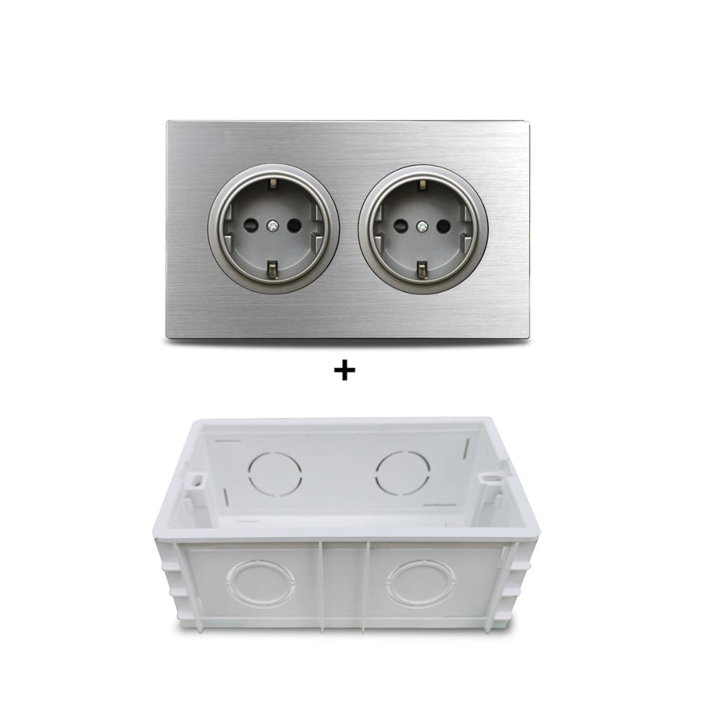 Wallpad Grey 2 Gang Double EU Plug Wall Electric Outlet Socket 146* 86mm Silver Brushed Aluminum Panel Double Frame