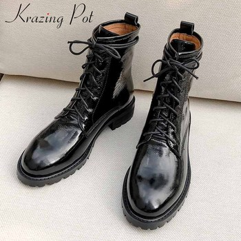 krazing pot genuine leather boots round toe med heels casual lace up keep warm beauty lady daily wear fashion ankle boots L62 liren 2019 winter women fashion casual ankle cow suede lace up boots round toe flat heels pu lady casual comfortable boots